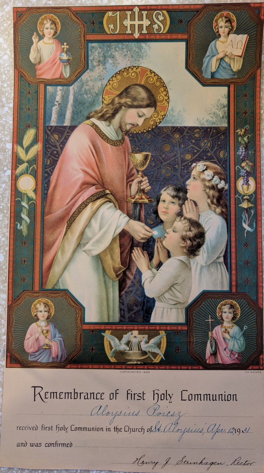 Remembrance Aloysius Communion